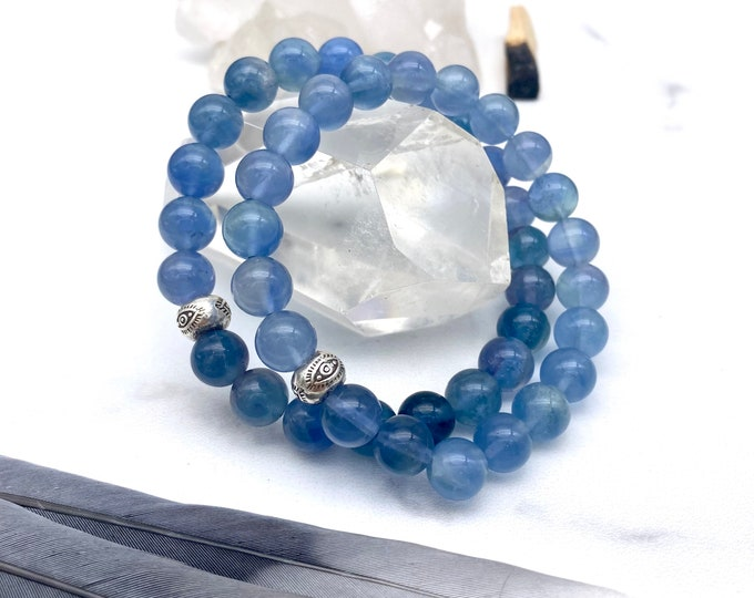 Featured listing image: Spiritual Attunement Blue Fluorite Mala Bracelet Pleidian Mala Kette Light Energy Starseed Jewelry Empath Protection Bracelet Evil Eye