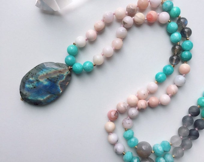 Featured listing image: Spiritual Energy Aura Radiance Mala Necklace, Labradorite Mala, Healing Stones For Aura Protection, Grounding, Spirituality, Manifestation