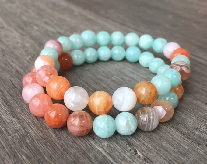 Featured listing image: Mala Bracelet, Chakra Bracelet, Chakra Jewelry, Aura Balancing, Crown Chakra, Bracelet, Gifts for her, Ocean Bracelet