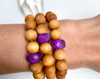 ammonite and yellow jade hand knotted mala Ruby in Zoasite Sandalwood