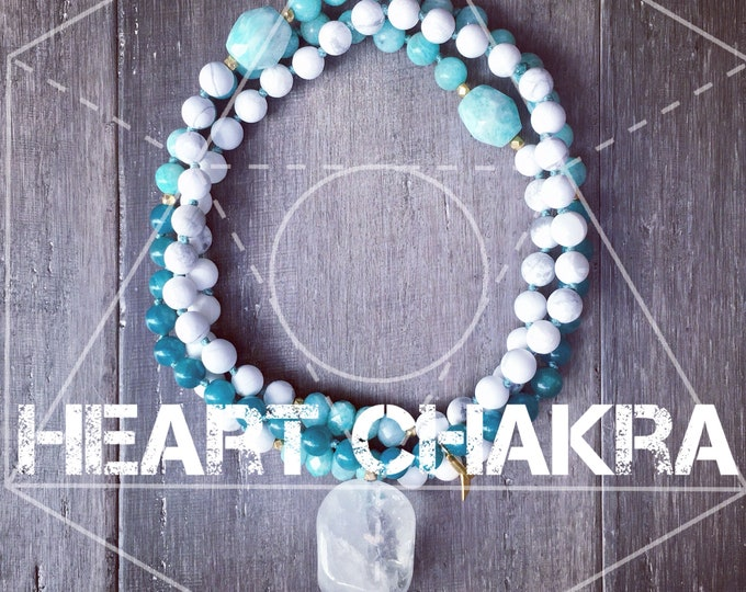 Featured listing image: HEART CHAKRA ATTUNEMENT Mala Necklace, 108 Beads, Amazonite Necklace,Chakra Necklace, Yoga Jewerly, Mala Beads, Meditation Necklace, Yoga, Y
