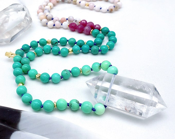 Featured listing image: Chrysoprase Crystal Mala Kette Pink Opal Ruby Mala Necklace Spiritual Light Energy Empath Protection Sacred Geometry Jewelry Heart Chakra