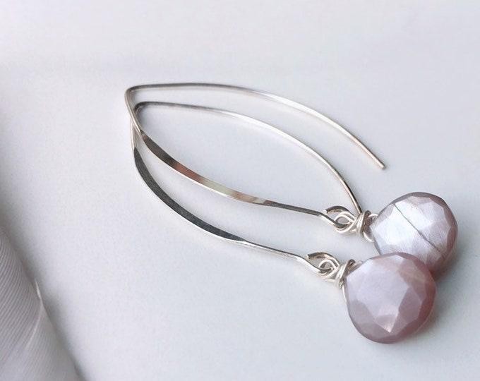 Featured listing image: Inner Wisdom - Chocolate Moonstone Earrings Moonstone Drop Earrings Minimalist Earrings Yoga Earrings Yoga Gifts for Her Bridal Earrings