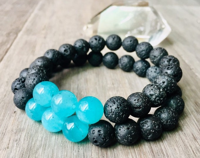 Featured listing image: Earth Connection Heart Chakra Mens Lava Bracelet