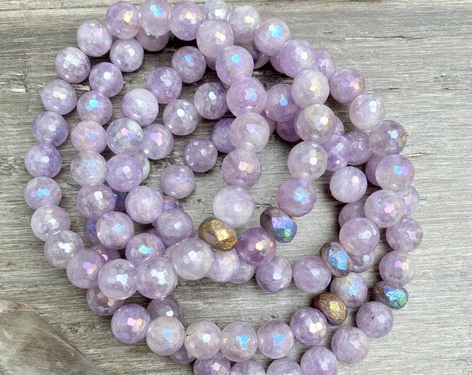 Featured listing image: Amethyst Angel Aura Mala Bracelet Empath Protection Bracelet Amethyst Mala Kette Healing Bracelet Spiritual Gifts Yoga Gifts Sacred Geometry