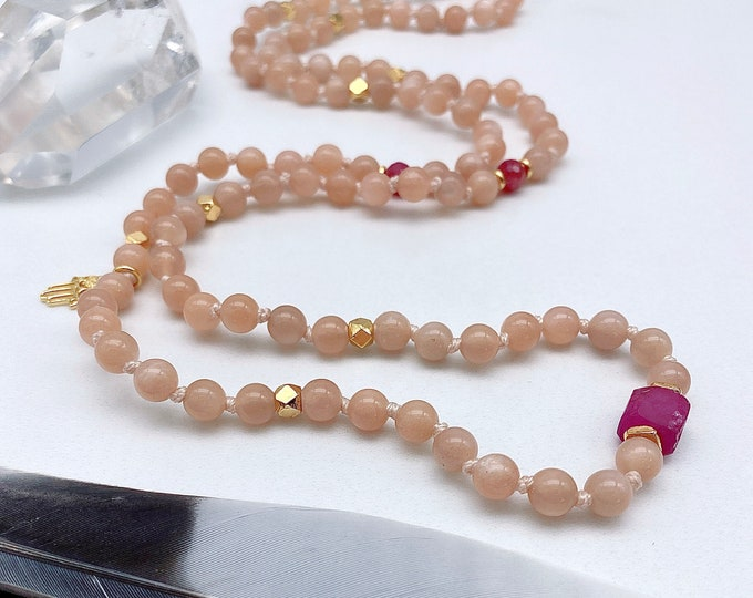 Featured listing image: Divine Heart Peach Moonstone Mala Necklace Mala Kette Aura Protection Yoga Gift mom her Spiritual Light Energy Jewerly Journey Empath Ruby
