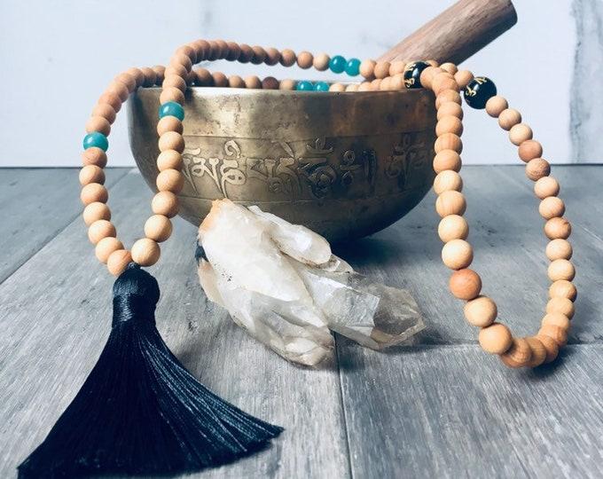 Featured listing image: Amazonite & Sandalwood Tassel Necklace