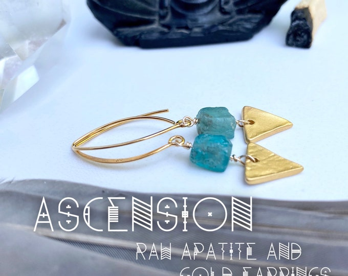 Featured listing image: Ascension Raw Apatite & Gold Earrings Aura Protection Earrings Empath Protection Earrings Goddess Earrings Yoga Gifts for her