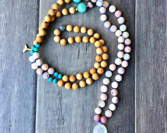 Featured listing image: Pink Opal Mala Necklace, Mala Necklace, Pendant Necklace, 108 Mala, Chakra Necklace, Necklace, Yoga Necklace, Gifts for Her