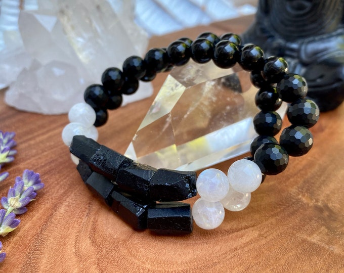 Featured listing image: Raw Tourmaline Bracelet Moonstone Bracelet Empath Protection Bracelet Mala Kette Reiki Bracelet Grounding Bracelet Healing Bracelet Yoga