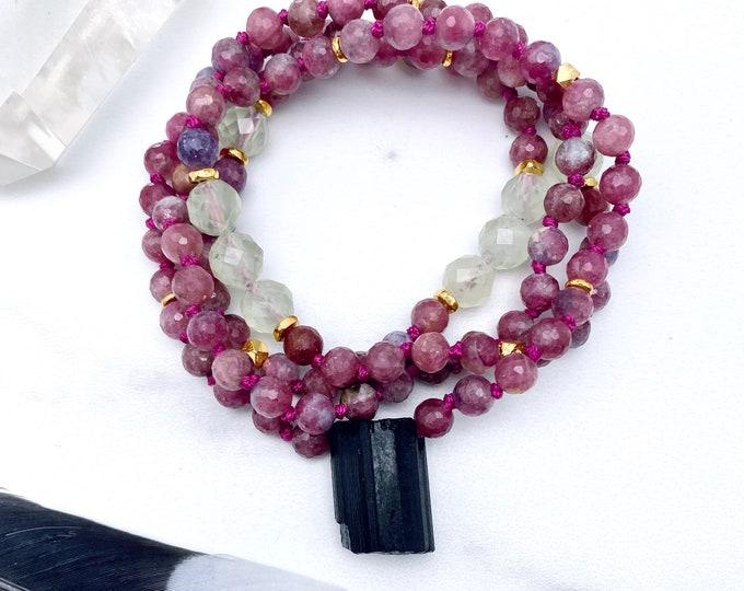 Featured listing image: Pink Tourmaline Mala Kette Prehnite Mala Necklace Raw Tourmaline Sacred Geometry Light Energy Jewelry Spiritual Empath Protection Starseed