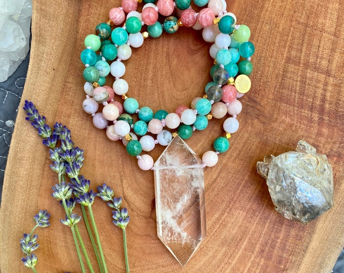 Featured listing image: Earth Energy Crystal Mala Necklace 108 Mala Necklace Pink Opal Mala Kette Amazonite Yoga Necklace Empath Protection Sacred Geometry Jewelry