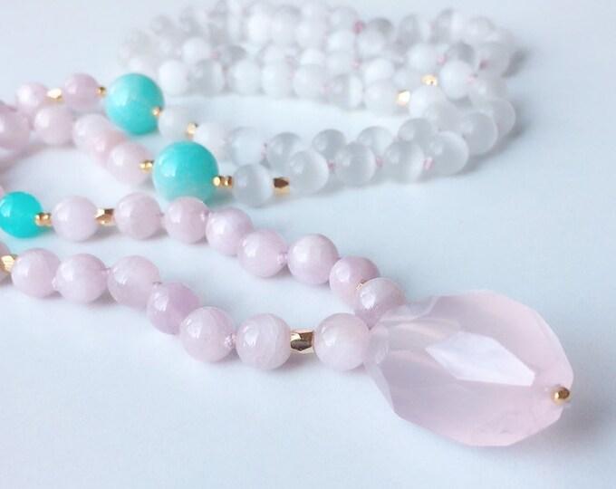 Featured listing image: Celestial Opening Lilac Kunzite Mala Necklace