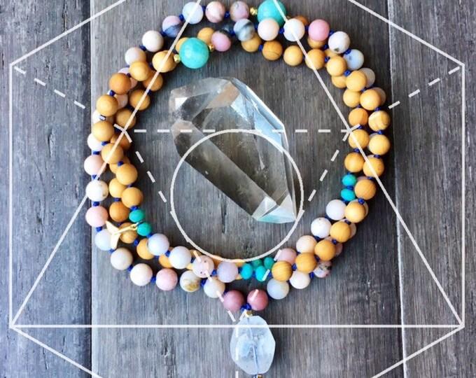 Featured listing image: AURA TRANQUILITY Pink Opal,Mala Necklace, 108 Beads, Hand Knotted, Chakra Necklace, Yoga Jewerly, Mala Beads, Meditation Necklace, Yoga,