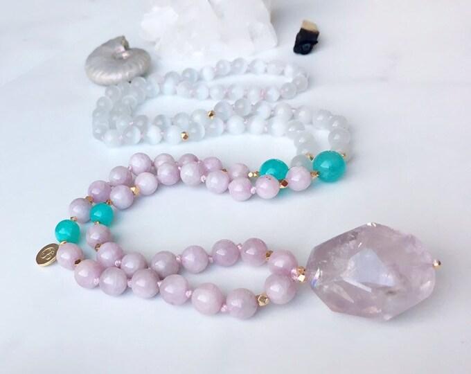 Featured listing image: Lilac Kunzite Mala Kette Selenite Mala Kette Amethyst Mala Necklace Empath Protection Mala Yoga Gifts Reiki Mala Spiritual Necklace