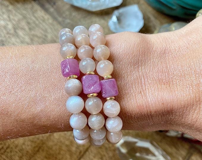 Featured listing image: Divine Heart Peach Raw Moonstone Mala Bracelet Mala Kette Aura Protection Yoga Gift mom her Spiritual Light Energy Jewerly Journey Empath