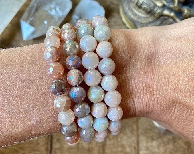 Featured listing image: Angel Aura Peach Chocolate Moonstone Mala Bracelet Metaphysical Empath Protection Bracelet Devas Spiritual Gift Yoga Gift Her light energy