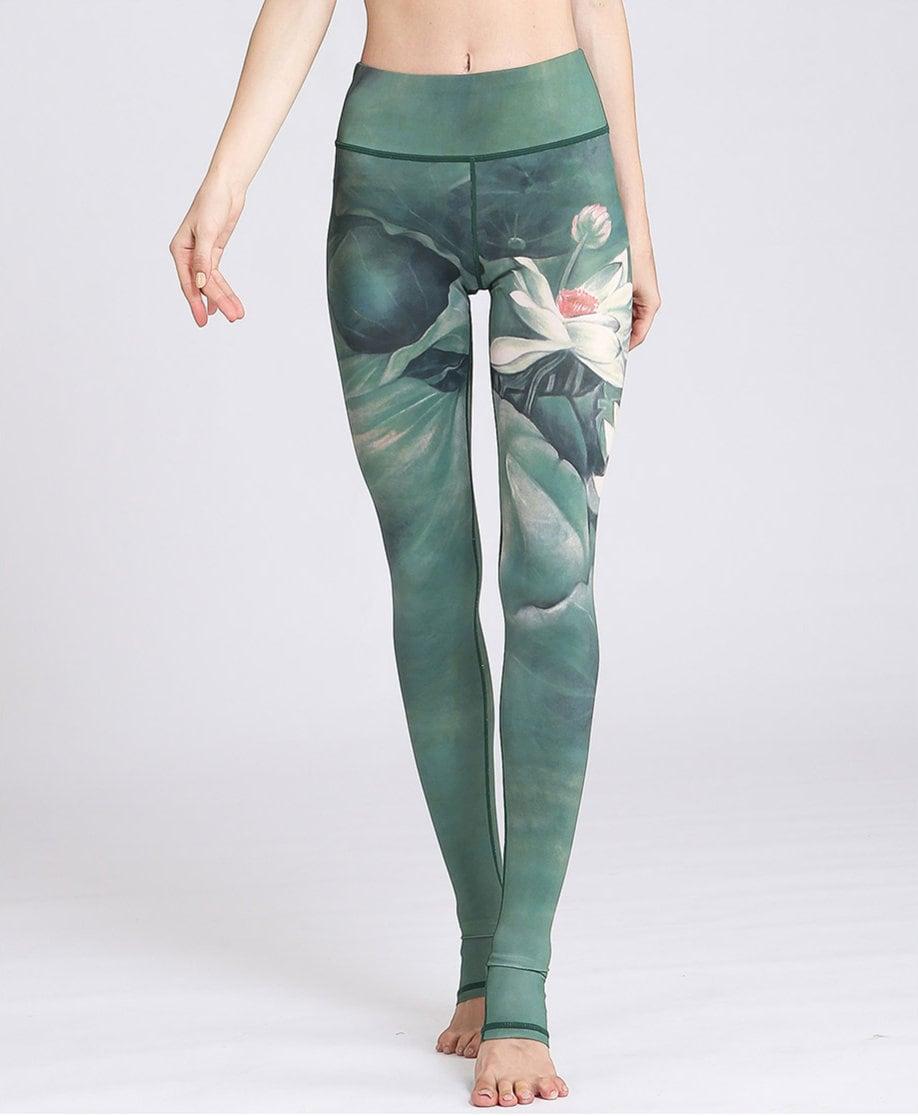Earth Lotus Yoga Leggings Green Lotus Yoga Leggings Yoga Pants