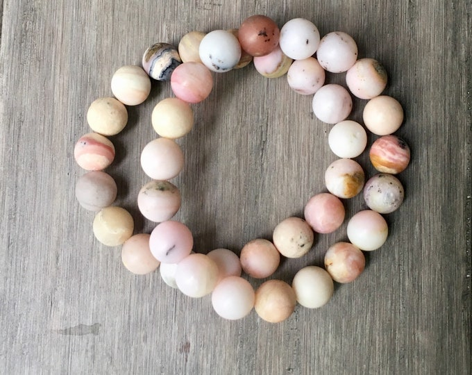 Featured listing image: Aura Tranquility Mala Bracelet, Heart Chakra, Mala Bracelet, Yoga Jewerly, Yoga, Yoga Bracelet, Chakra Mala Bracelet, Pink Opal Bracelet