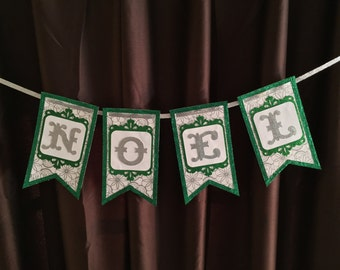 Noel Banner - Green & Silver