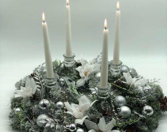 Silver Christmas arrangement, white Christmas centerpiece, luxurious Christmas wreath