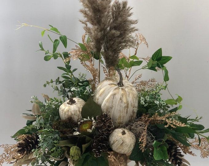 Luxurious fall arrangement, fall centerpiece, large fall arrangement, golden pumpkins