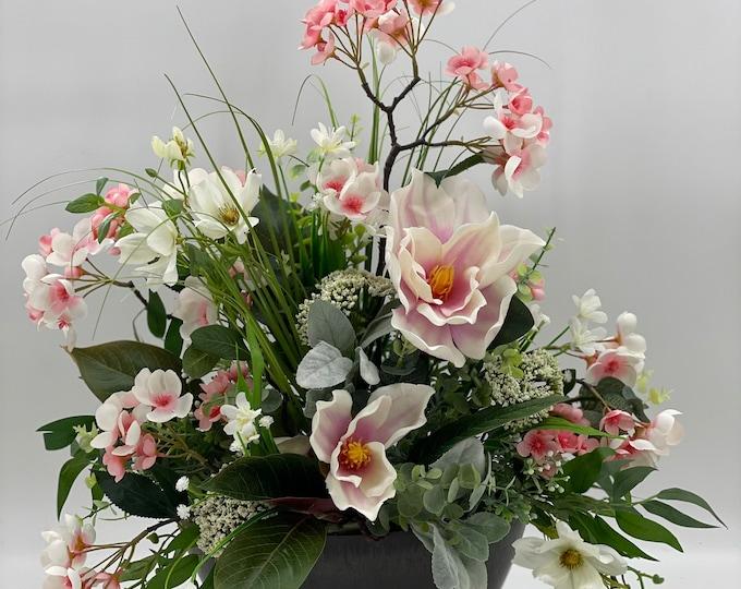 Luxurious magnolia centerpiece arrangement, cherry blossom arrangement, artificial flowers, nearly natural