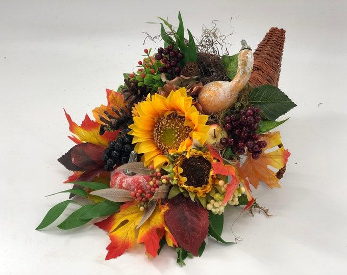 Fall arrangements, fall cornucopia, fall decor, thanksgiving arrangement, centerpiece