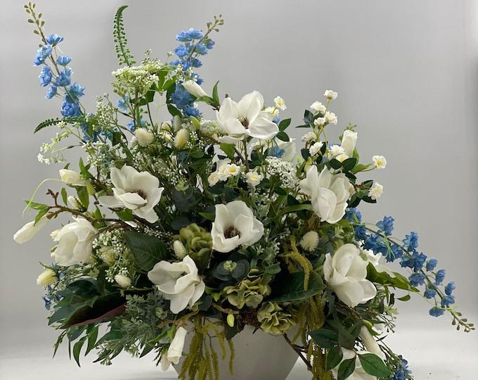 Luxurious magnolia centerpiece arrangement, spring arrangement, artificial flowers, nearly natural