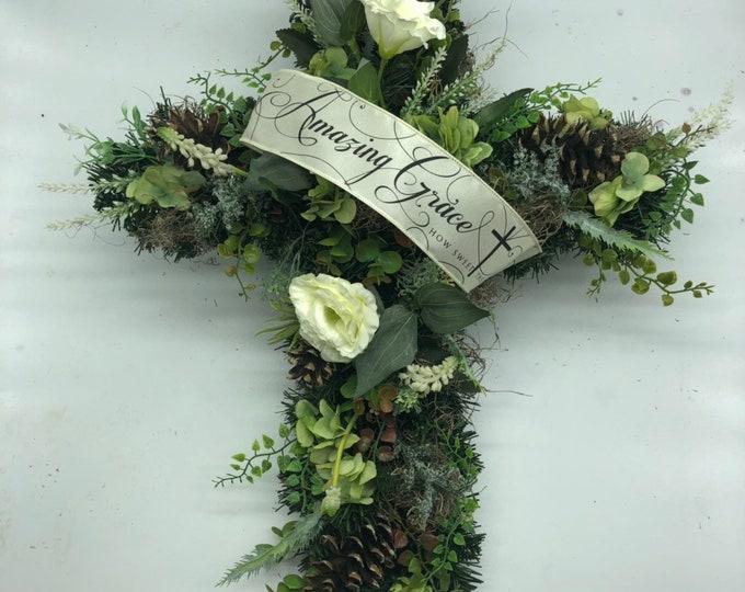 Memorial cross, cemetery arrangement, amazing grace