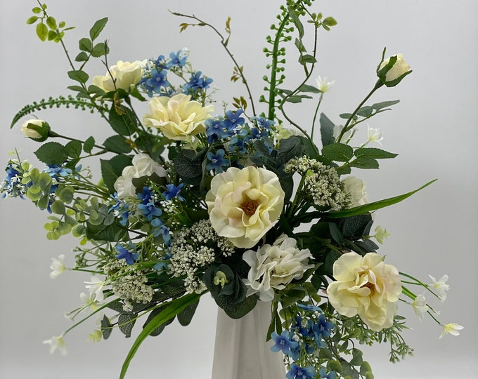 artificial flower arrangement, spring arrangement, spring centerpiece, flower arrangement