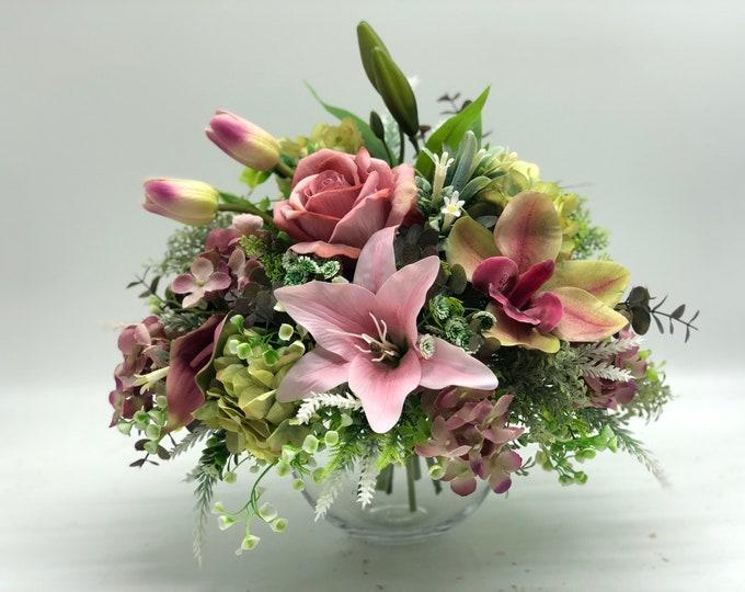 Pink flower arrangement, bright bouquet, summer arrangement, centerpiece, spring arrangement