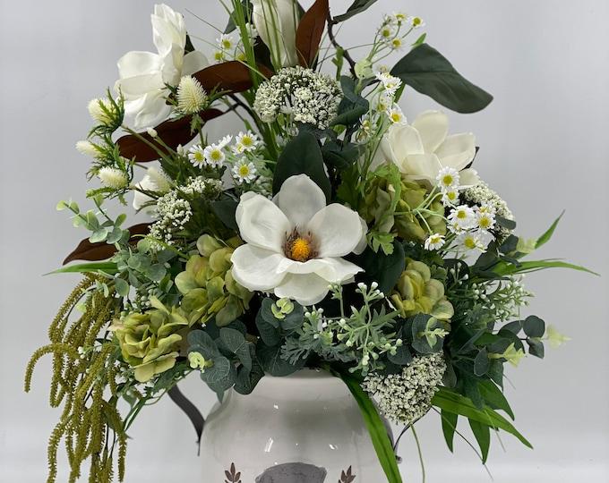 Realistic artificial flower arrangement, spring arrangement, farmhouse style centerpiece, magnolia flower arrangement