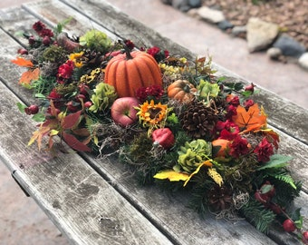 Fall centerpiece for table, thanksgivings arrangement, pumpkin decor, fall arrangement, artificial arrangement