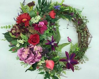 Artificial wreath, luxurious wreath, pink wreath