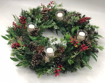 Christmas wreath, candles included! Advent wreath, Christmas wreath,m, Christmas arrangement, Christmas