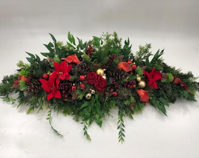 christmas centerpiece , garland mantel decor, cascading, Christmas decor