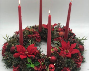 Artificial chtistmas wreath, candles included! Advent wreath, Christmas wreath, purple pink advent, Christmas arrangement, Christmas centerp