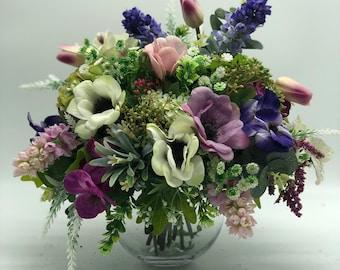 Spring flower arrangement, pink bouquet, summer arrangement, centerpiece, spring arrangement