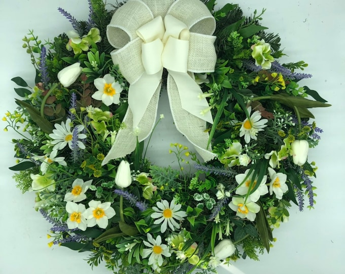 Spring wreath, easter wreath, artificial wreath, front door wreath, year round wreath, nearly natural, farmhouse style wreath, country style