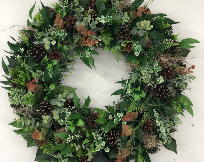 Front door wreath, outdoor wreath, greenery wreath, rustic wreath, all season wreath, year round wreath, artificial wreath, red wreath