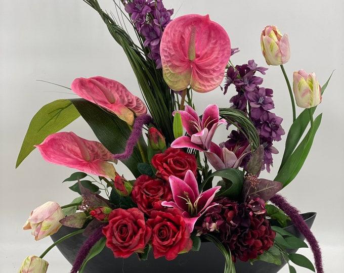 Luxurious modern artificial flower arrangement, spring arrangement, spring centerpiece, pink purple flower arrangement