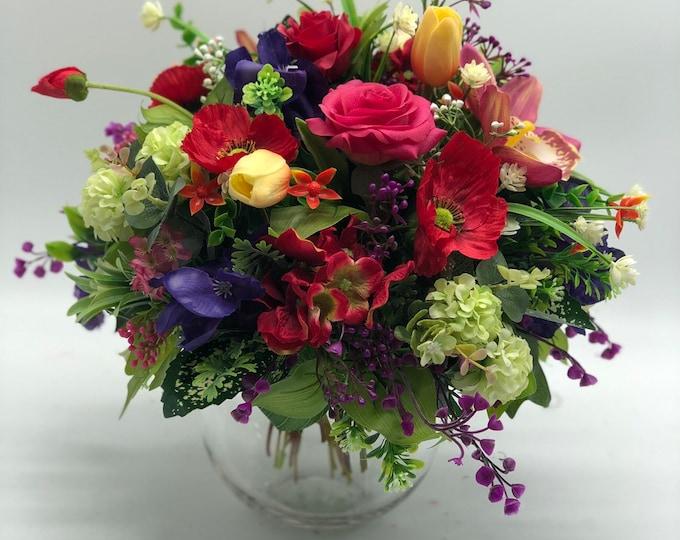 Colorful flower arrangement, bright bouquet, summer arrangement, centerpiece, spring arrangement