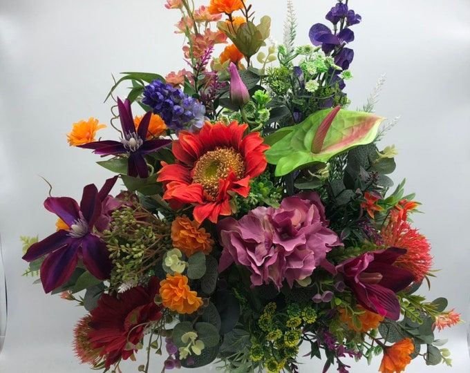 Fall centerpiece, summer arrangement, fall bouquet, colorful bouquet, artificial and last forever, nearly natural