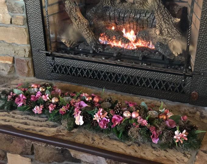 Pink Christmas arrangement , christmas garland, advent centerpiece