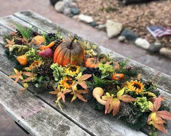 Fall arrangement centerpiece for table, thanksgivings arrangement, pumpkin decor, fall centerpiece