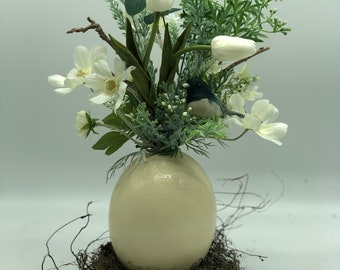 Artificial easter arrangement, spring decor, easter egg, real ostrich egg