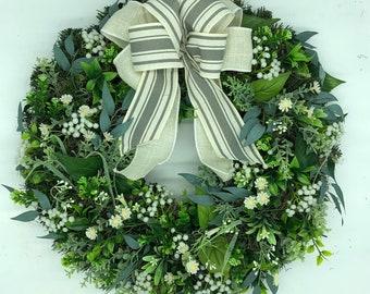 All season front door wreath, spring wreath, farmhouse wreath, country style wreath, rustic wreath, white wreath, artificial wreath