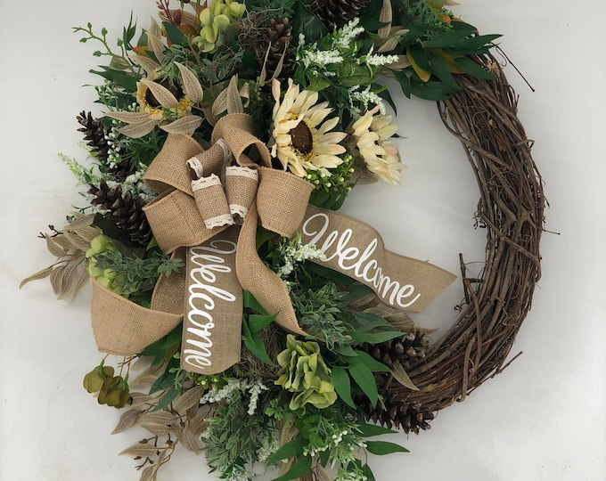 Fall wreath, artificial wreath, front door wreath, year round, nearly natural, farmhouse style wreath, country style, sunflower wreath