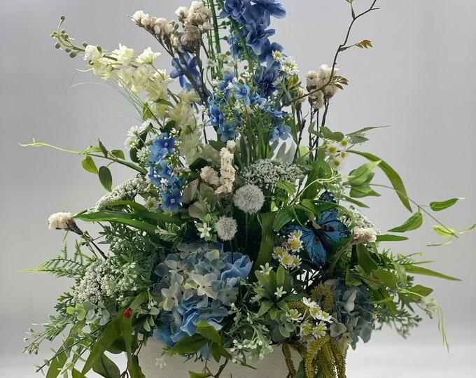 Luxurious artificial white and blue wildflower centerpiece arrangement, spring arrangement, artificial flowers, nearly natural